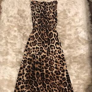 Boston Proper Leopard Print Maxi Dress